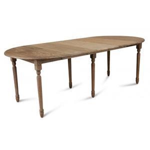 Table Ronde 115 cm + 3 Allonges Chêne Massif
