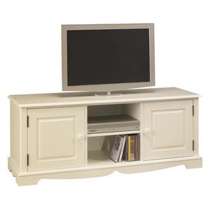 Meuble TV Hifi Blanc 2 Portes 2 Niches